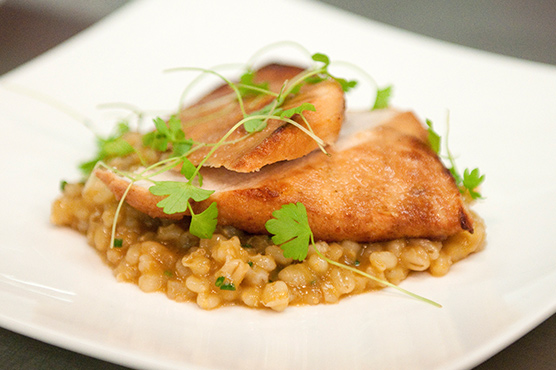 Enjoy smoked buttered chicken with a braised pearl barley, garlic and parmesan.